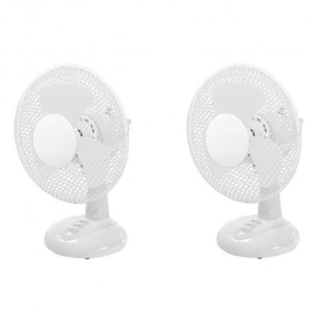 OCEANIC Lot de 2 ventilateurs de table - 30 watts - Diametre 23 cm - 2 vitesses - Oscillant