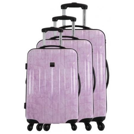 FRANCE BAG - Set de 3 valises  Cadenas TSA ABS/POLYCARBONATE Prune crocodile