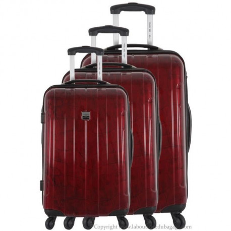 FRANCE BAG - Set de 3 valises  Cadenas TSA ABS/POLYCARBONATE Bordeaux crocodile