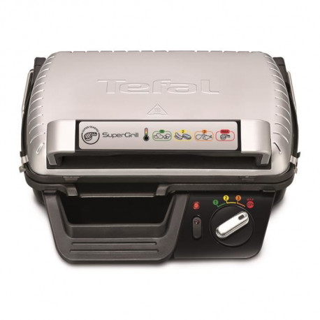 TEFAL GC 450 B 32 - Grill - Puissance 2000 W - 2 positions ( Gril et Barbecue ) - Thermostat ajustable - Plaques et bac colle…