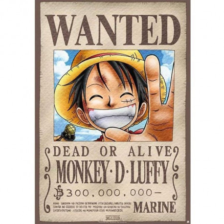 Plaque en métal One Piece - Luffy Wanted (28x38) - ABYstyle