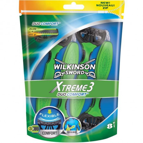 WILKINSON Pack de 8 Rasoirs jetables masculins Xtreme 3 Duo Comfort
