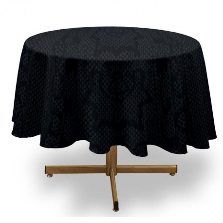 SOLEIL D'OCRE Nappe ronde anti-tâches Snake - 180 cm - Anthracite