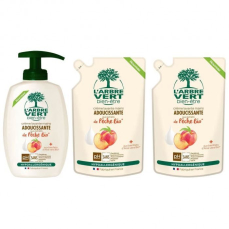L'ARBRE VERT Creme Lavante Mains Peche douce Bio 300 ml + 2 Recharges 300 ml
