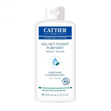 CATTIER  Gel Nettoyant Purifiant Bio peaux grasses a imperfections  200 ml