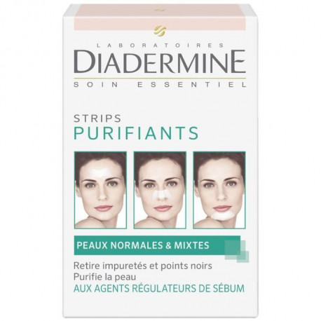DIADERMINE Strips Purifiants - 6 strips anti-points noirs et impuretés