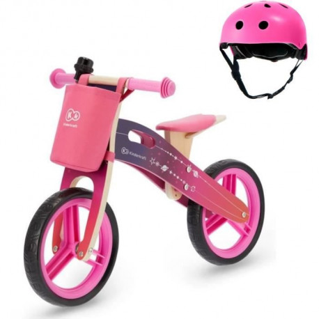 KINDERKRAFT Draisienne en bois Galaxy  Rose + Casque