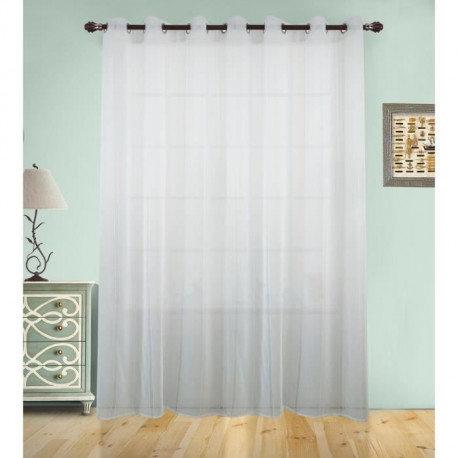 Voilage grande largeur uni a rayures verticales - 300x240cm - 100% polyester