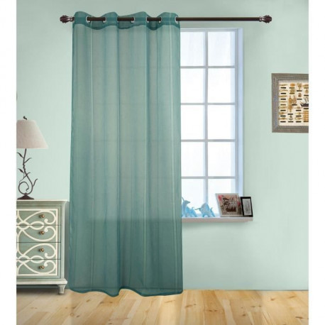 Voilage uni a rayures verticales - 140x240cm - 100% polyester