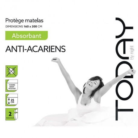 TODAY Protege Matelas / Alese Absorbant Anti-Acariens 160x200cm - 100% Coton