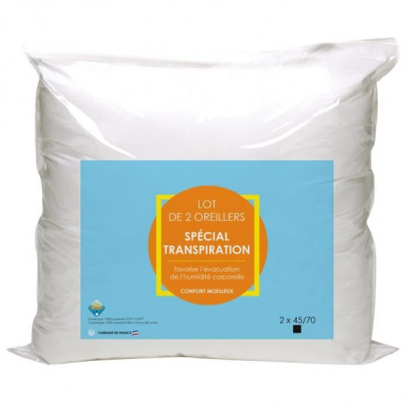 Lot de 2 oreillers Microfibre Anti-Transpiration 45x70cm