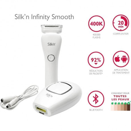 SILK'N Coffret Infinity Smooth Epilation définitive 400 000 impulsions lumineuses, LadyShave Wet&Dry inclus