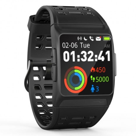 WEE'PLUG Explorer III Montre connectée GPS cardio - Multisports - Waterproof IP68 - Noir/Rouge