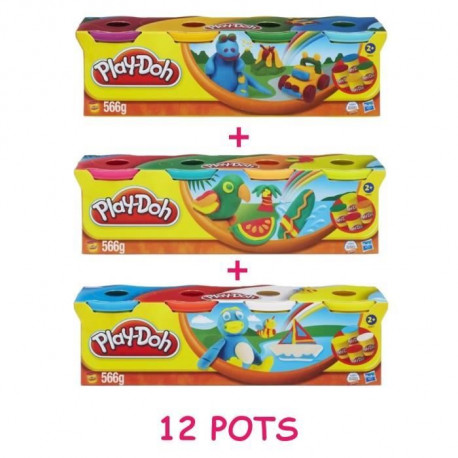 PLAY-DOH Pack 12 Pots Multicolores