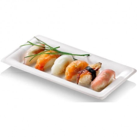 NATURESSE - N130-6 - 6 Assiettes rectangulaires Karo - Canne a sucre - 26 x 13 cm