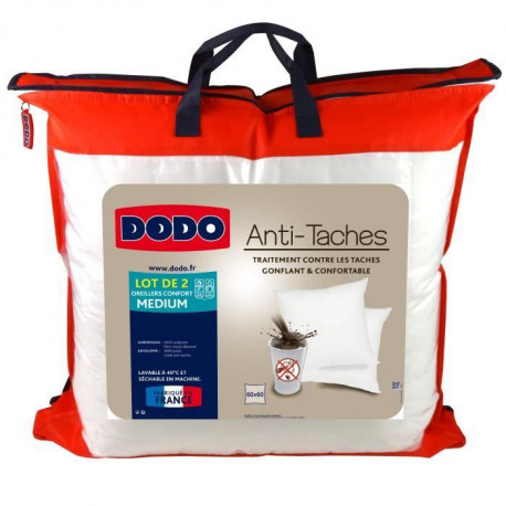 DODO Lot de 2 Oreillers ANTI TACHES 60x60cm