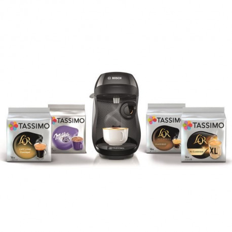 BOSCH TAS1002C3 Tassimo Happy  + 4 packs de T-Discs - Noir + 10€ de réduction sur les T-discs