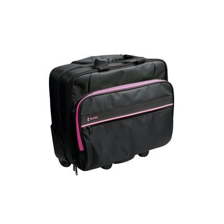 "KONIG Malette a roulettes informatique Trolley Professionnel 15-16"" - Polyester - Noir / Rose"
