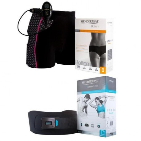 SLENDERTONE Ceinture d'Electrostimulation Connect ABS Mixte Android et IOS + Short Bottom Complet