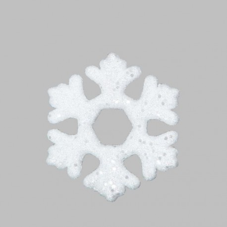 Lot de 4 Décorations sapins flocons blanc pailleté Ø 11cm