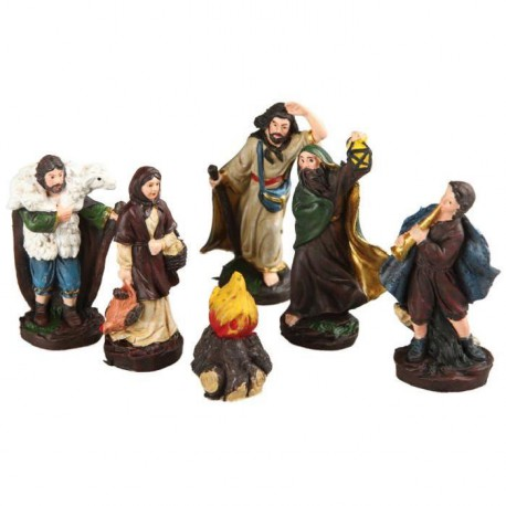 Lot de 6 Santons de Noël en plastique marron 10cm