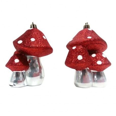 Lot de 2 Suspensions Champignons rouge & blanc