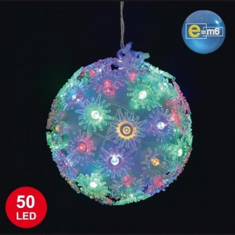 Boule lumineuse 50 LED diametre 10 cm multicolore