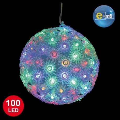 Boule lumineuse 100 LED diametre 15 cm multicolore