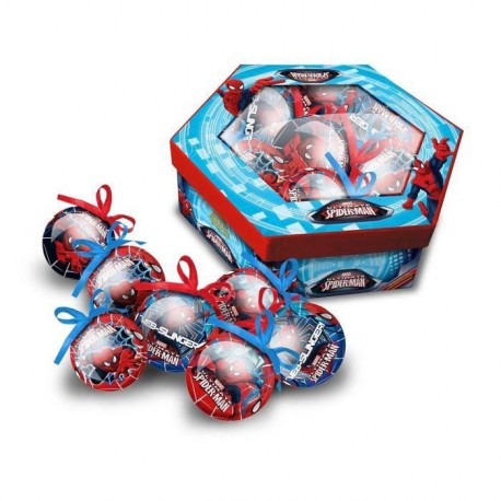 SPIDERMAN Lot de 7 boules de noël 7,5 cm rouge et bleu