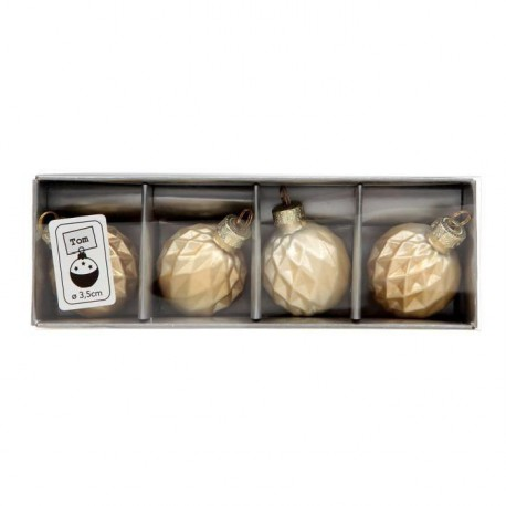 Lot de 4 boules portes noms - Or
