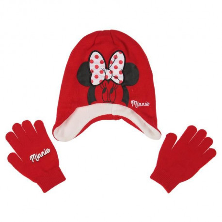 DISNEY MINNIE MOUSE Lot de Bonnet + écharpe + gants - Enfant Fille - Acrylique