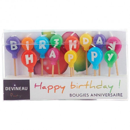 Bougie anniversaire Happy Birthday ballon