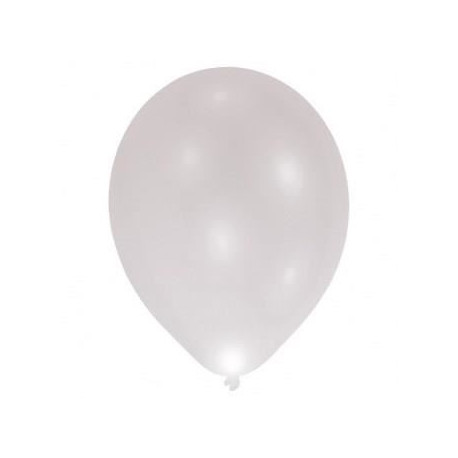 Lot de 9 Ballons avec LED - Latex - 27,5 cm - Argent