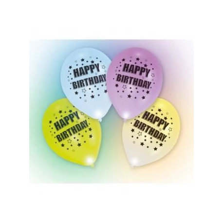 Lot de 4 Ballons avec LED - Latex - Happy Birthday - 27,5 cm