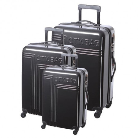 CITY BAG Set de 3 Valises 4 Roues 50-60-70 cm URBAN LINE Noir