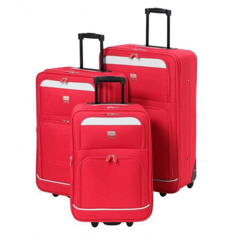 FRANCE BAG Set de 3 Valises Souple 2 Roues 51-61-70cm Rouge