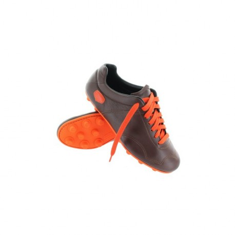 Chaussures de foot crampons moulés - Marron semelle Orange