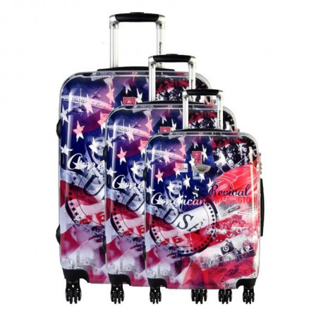 AMERICAN REVIVAL Set de 3 Valises Rigide ABS & Polycarbonate 4 Roues 50-60-70cm KENNEDY Drapeau
