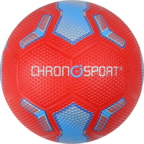 CHRONOSPORT Ballon de Foot T5 Rubber Rouge et Bleu