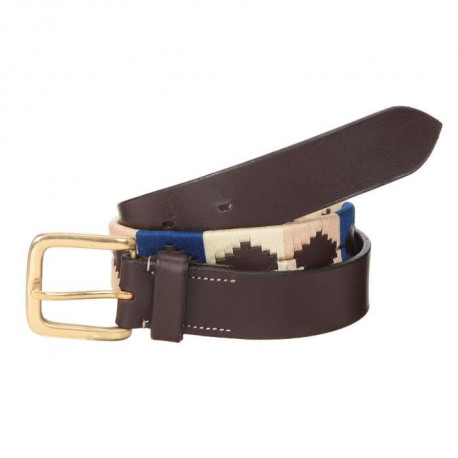 RIDING WORLD Ceinture d'équitation Polo - Havane Marin / Beige