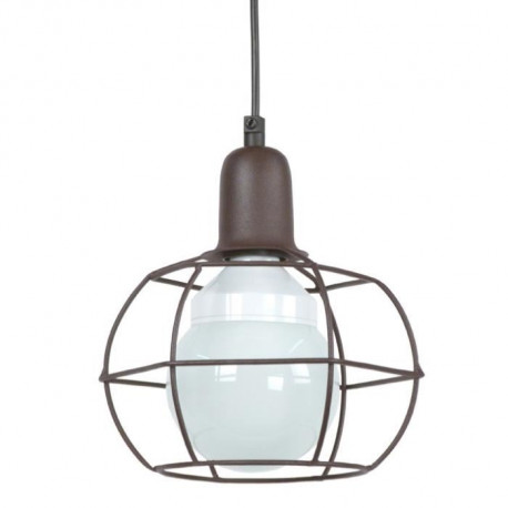 HEX GLOBE Suspension fil acier - 18x18x80 cm - Marron