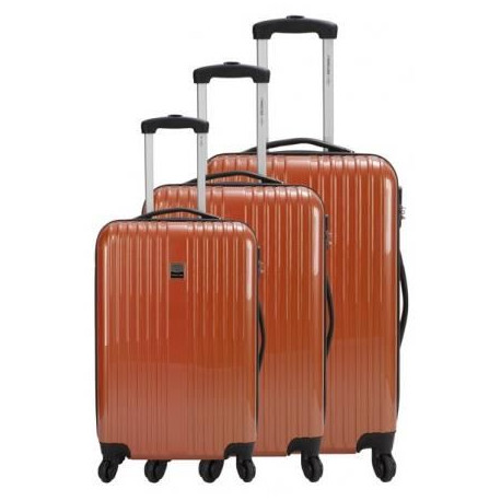 FRANCE BAG Set de 3 Valises Rigide ABS et PC 4 Roues 50-60-70cm Orange