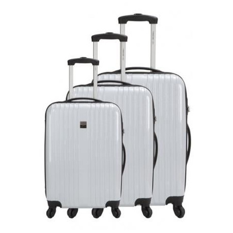 FRANCE BAG Set de 3 Valises Rigide ABS et PC 4 Roues 50-60-70cm Blanc