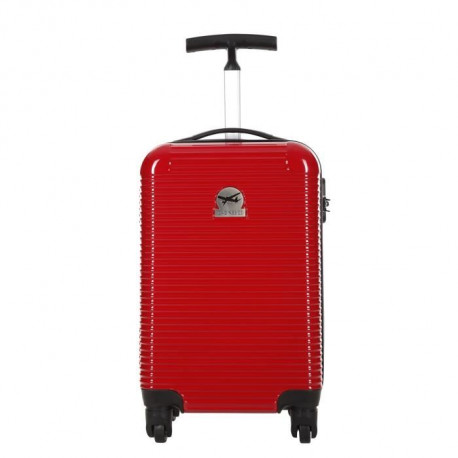CABINE SIZE Valise Cabine Low Cost Rigide Polycarbonate-ABS Cristal 4 Roues 46cm BAITI Rouge