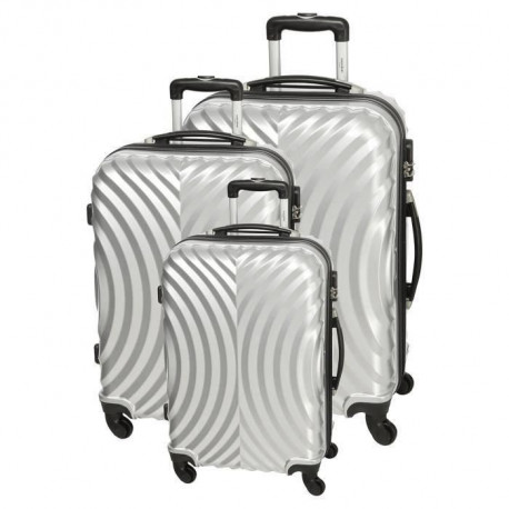 MANOUKIAN Set de 3 Valises Polycarbonate 4 Roues 50/60/70 cm Silver