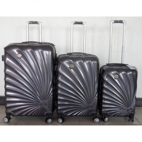 MANOUKIAN Set de 3 Valises Chariot Rigide ABS et Polycarbonate 4 Roues 55-65-75cm MANOUKIAN 32 Dark Grey