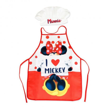 MINNIE Lot Tablier + Toque - Rouge et Blanc