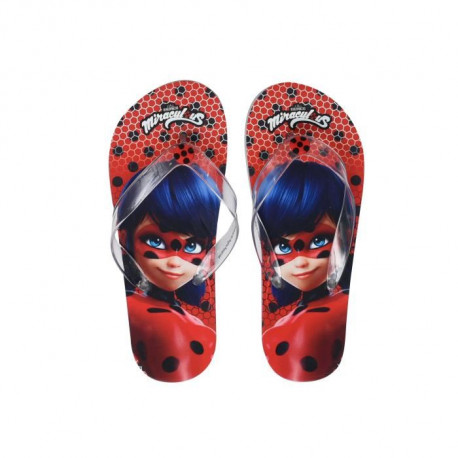MIRACULOUS - Tongs Rouge a Pois Lady Bug Sérigraphiées - Enfant Fille