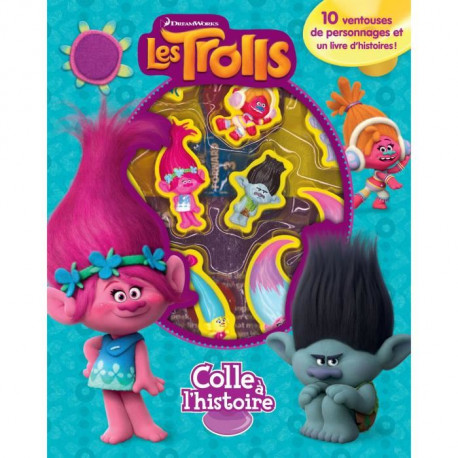 DREAMWORKS LES TROLLS Plus de 10 figurines a ventouse - Livre cartonné de 10 pages - Editions Phidal