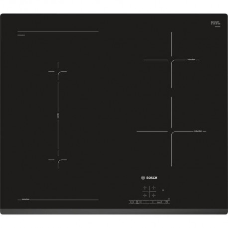 BOSCH PVS631BB1E Table de cuisson induction - 4 zones - 6900 W - L 59,2 x P 52,2 cm - Revetement verre - Noir